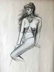 Nude sitting 2. Charcoal