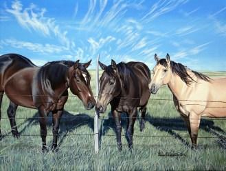 """18x24"""" acrylic Western horse trio"""