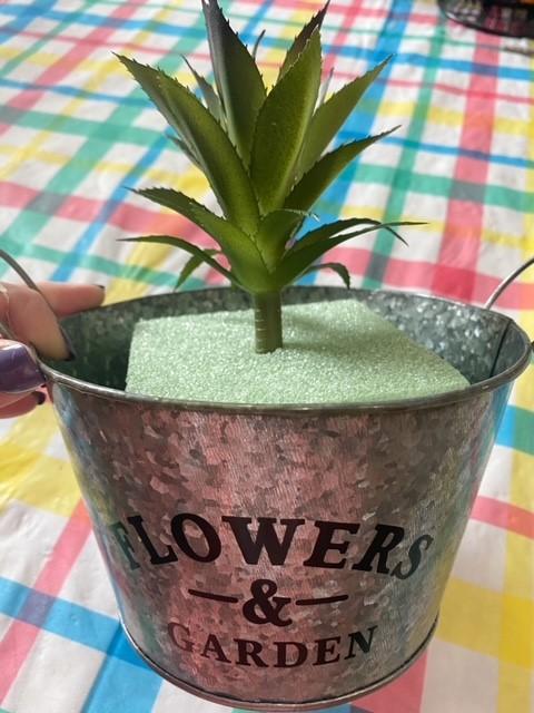 succulent in floral foam in galvanized pail