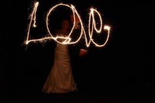 After Dark: Perfect timing for a wedding and a bride who wanted to play with sparklers!