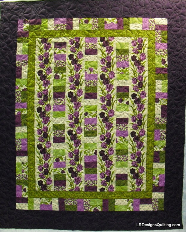 Barb's Purple and Green column quilt