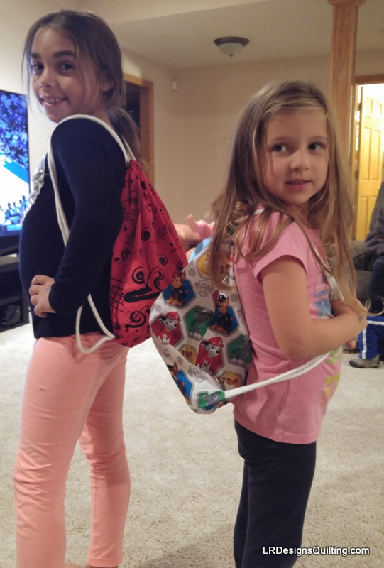 Drawstring totes for the big kids