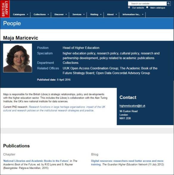 Un exemple de page personnelle sur le site de la British Library