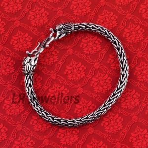 Oxidised Elephant Face Silver Bracelet
