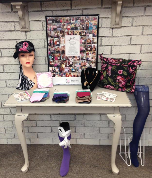 Compression socks and jewelry sold at the Pink Ribbon Boutique