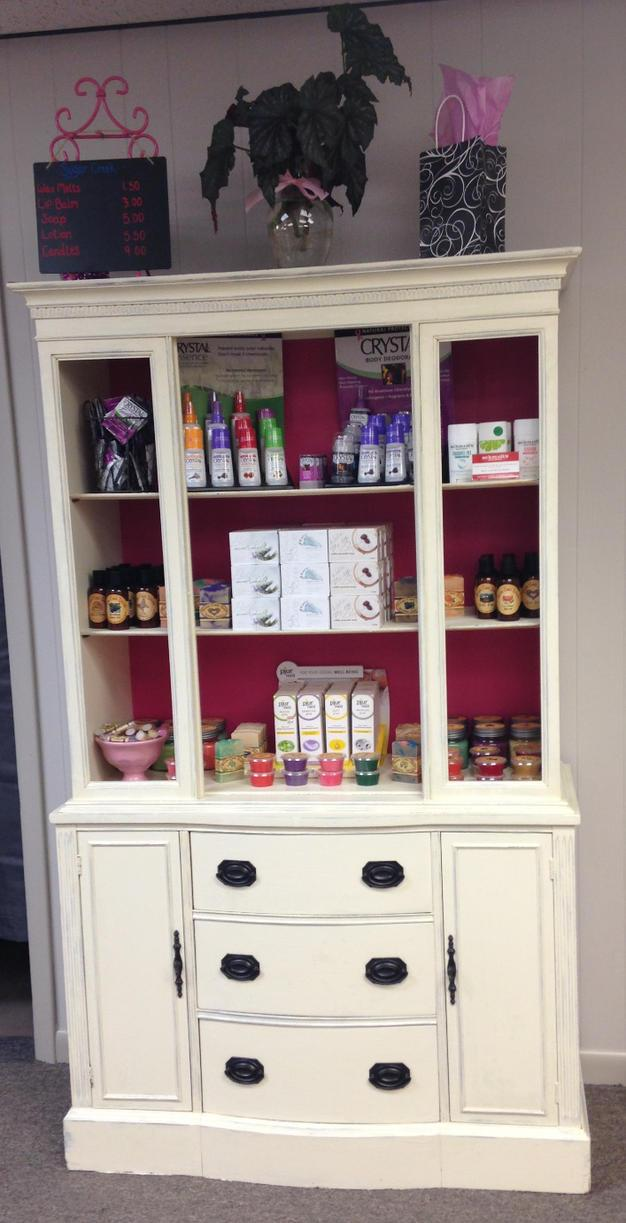 Lip balms, soaps, lotions, and candies sold at the Pink Ribbon Boutique