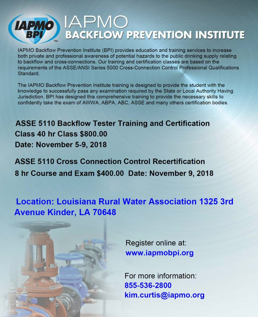 November 5 9 2018 Kinder 40 Hour Backflow Tester Training