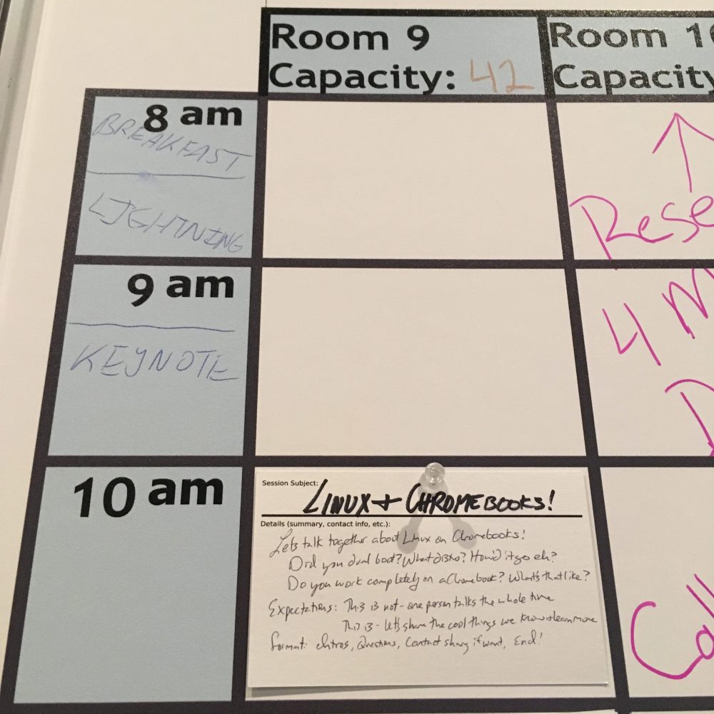 Photo showing the morning schedule for openspaces, with the Linux openspace I lead as a detail