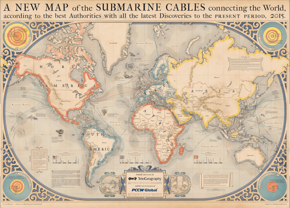 Map of the world showing internet cables