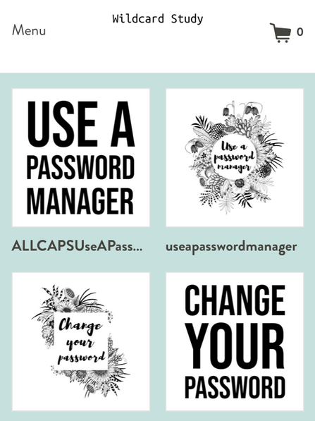 "Four designs for shirts, hoodies, and stickers. Two say ""Change your password"" and two say ""Use a password manager"""
