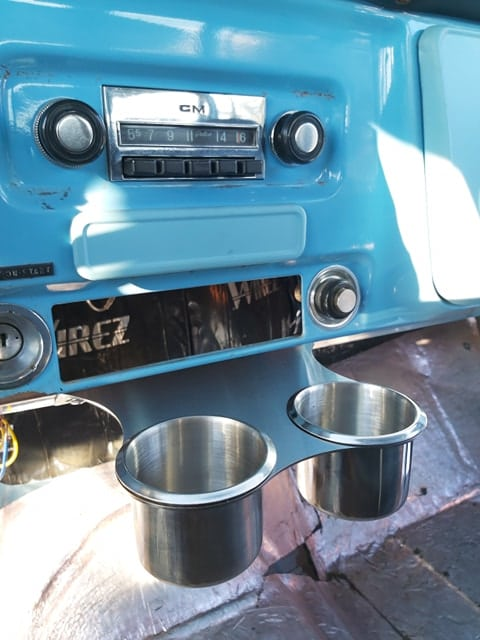 47-54 GMC Chevy Truck Cup Holder installed