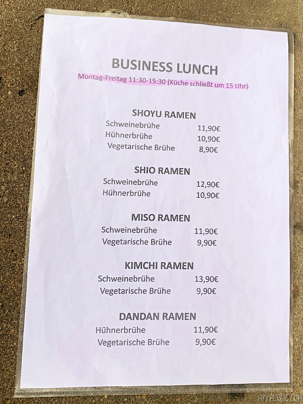 Business Lunch Speisekarte im Ramen 8 Stuttgart