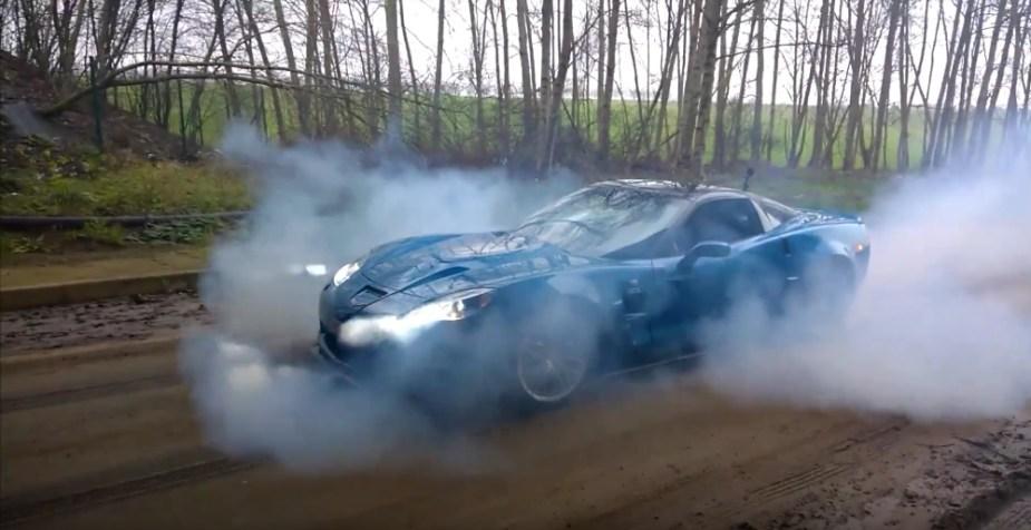 Corvette ZR1 Burnout on Dirt