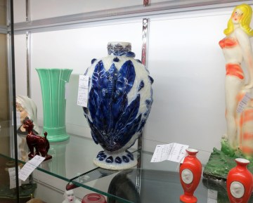 The South African jewel that eluded the House of Windsor. My lizard Jo-burg vase flanked by Jackie, a Zsolany poodle, and Miss America 1951.