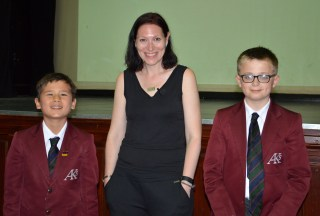 Natalie Haynes with Jonah Crouch (L) and