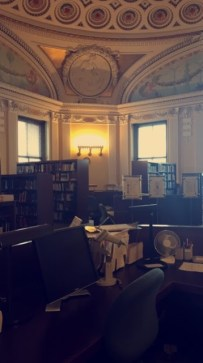 One of the daily tasks that we have as interns is to back up the reference librarians in the European Reading Room. We sit at the front reference desk when needed and greet researchers/ answer phone calls.