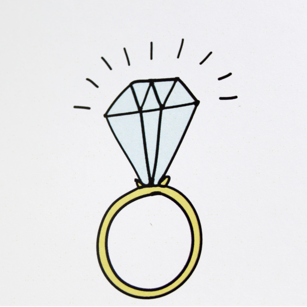 Cartoon of an engagement ring with a large diamond