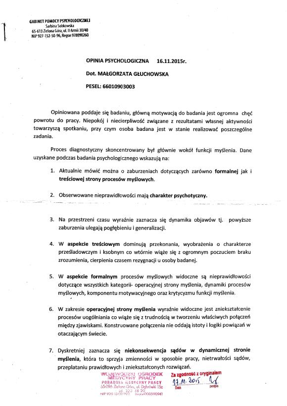 Fałszywa opinia psychologiczna Sarbina Sobkowska strona pierwsza
