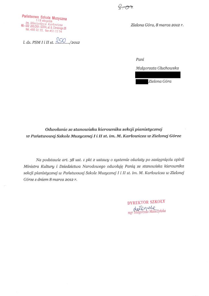Pismo zwalniające Małgorzatę Głuchowską ze stanowiska kierownika sekcji 8 marca 2012