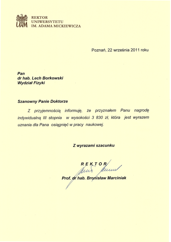 Nagroda Rektora UAM 2011 dla Lecha Borkowskiego