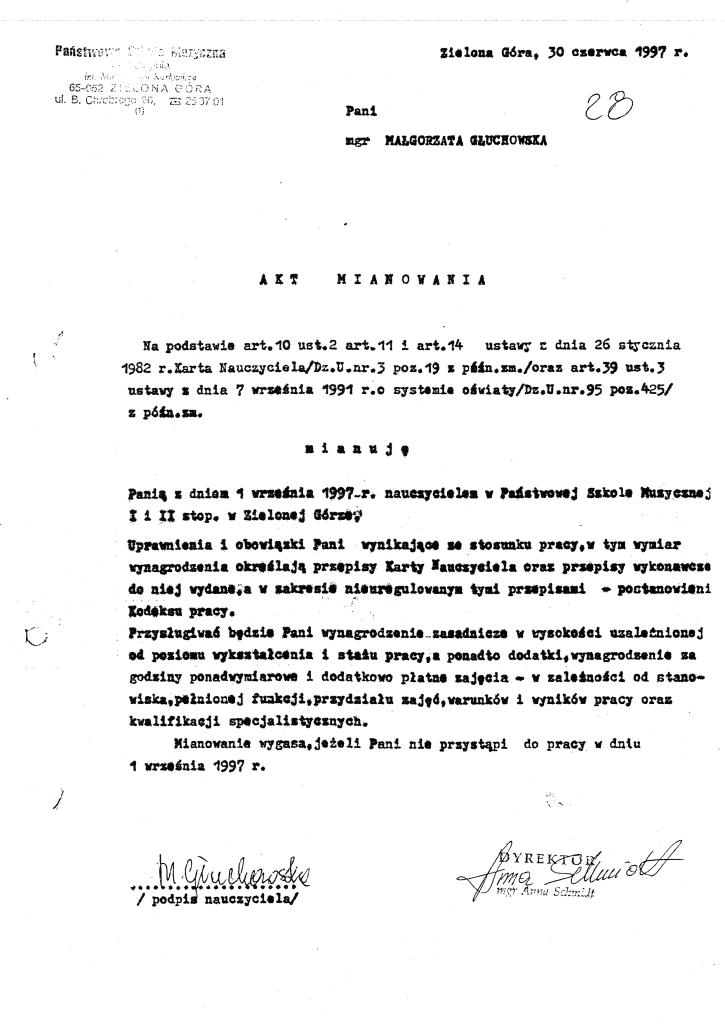 Akt mianowania Małgorzaty Głuchowskiej 30 czerwca 1997, Państwowa Szkoła Muzyczna I i II stopnia w Zielonej Górze, ul. Chrobrego 26