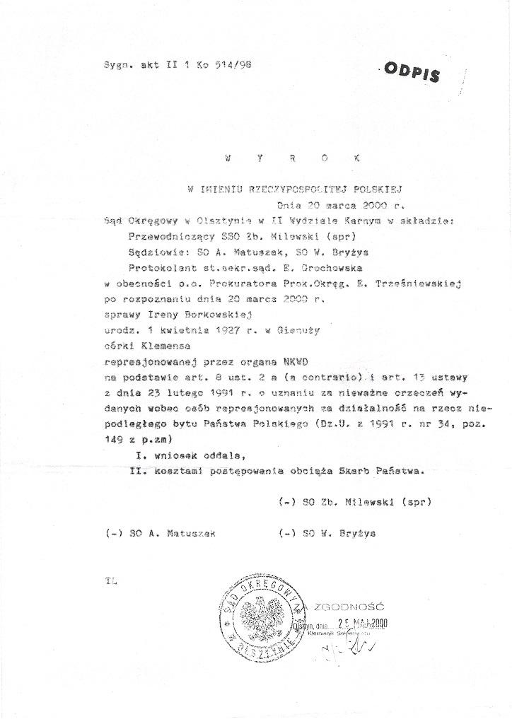 Wyrok Sądu Okręgowego w Olsztynie 20 marca 2000 strona 1/5