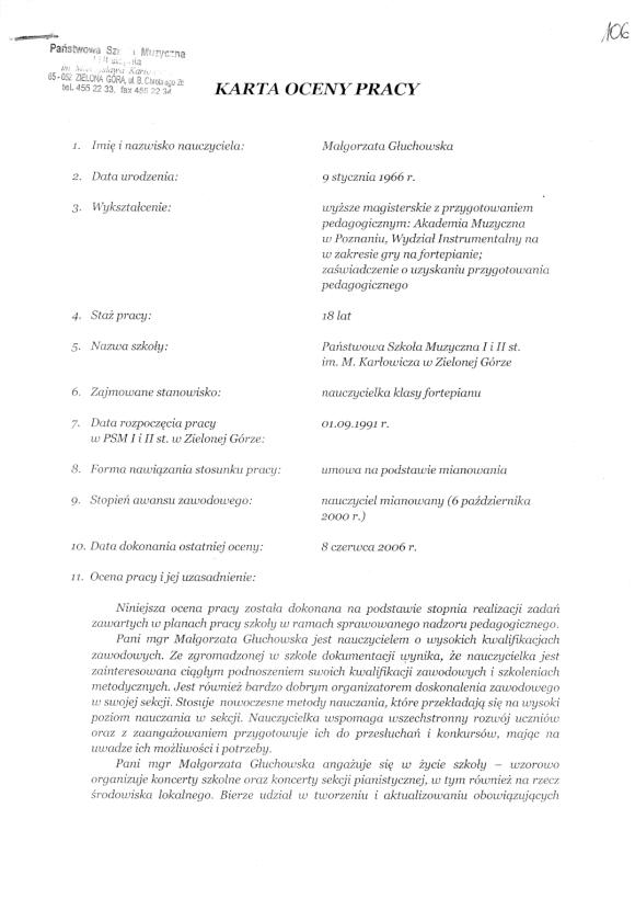 Karta Oceny Pracy, Małgorzata Głuchowska, Państwowa Szkoła Muzyczna I i II stopnia w Zielonej Górze, 9 czerwca 2011, strona 1.