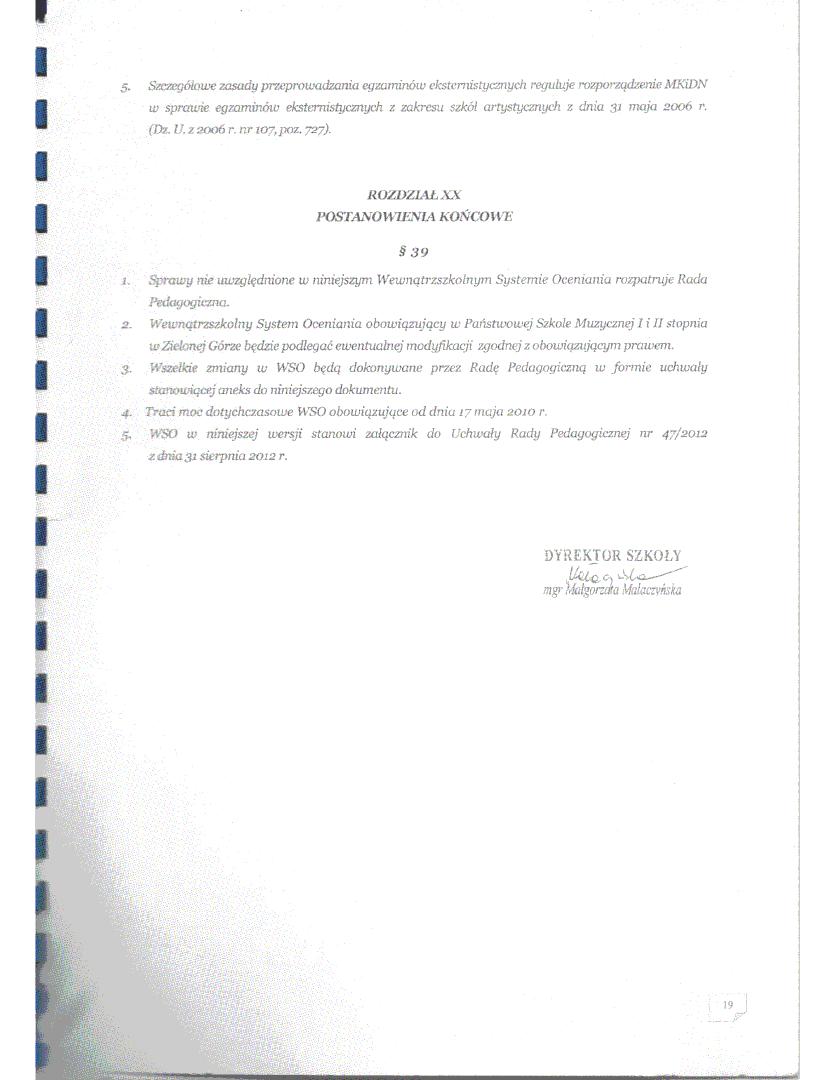 Sfabrykowany statut szkoły 2012; strona ostatnia; Państwowa Szkoła Muzyczna I i II stopnia im. Mieczysława Karłowicza w Zielonej Górze