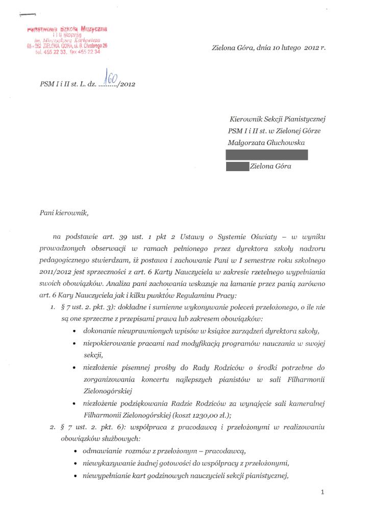 Pismo dyrektor Państwowej Szkoły Muzycznej I i II stopnia im. Mieczysława Karłowicza w Zielonej Górze do Małgorzaty Głuchowskiej 10 lutego 2012
