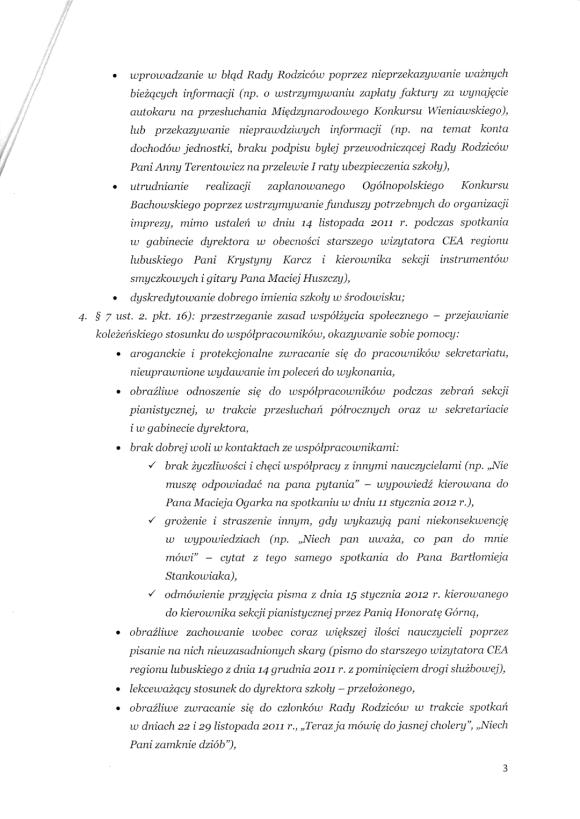 Pismo dyrektor Państwowej Szkoły Muzycznej I i II stopnia im. Mieczysława Karłowicza w Zielonej Górze do Małgorzaty Głuchowskiej 10 lutego 2012; strona 3