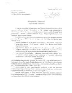 Pismo H. Górnej do Małgorzaty Głuchowskiej, kierownik sekcji pianistycznej PSM w Zielonej Górze, 14 września 2011, strona 1