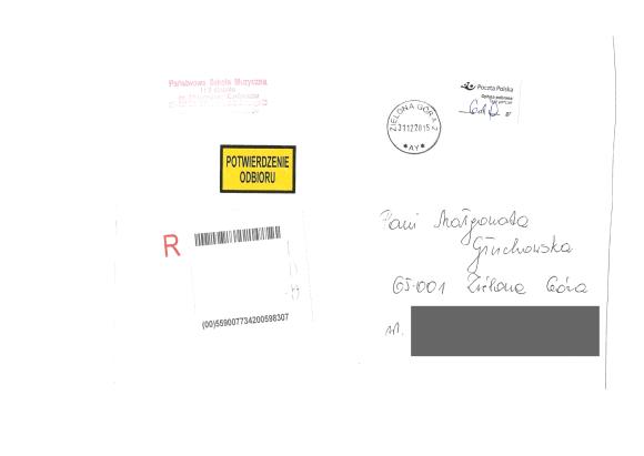 Koperta adresowana do Małgorzaty Głuchowskiej, w której umieszczono zwolnienie z pracy w PSM I i II stopnia im. Mieczysława Karłowicza w Zielonej Górze. Na kopercie umieszczono nieprawidłowy kod pocztowy. Kod pocztowy podany w piśmie był prawidłowy. Ten błąd należy uznać za popełniony świadomie i celowo. Innymi słowy jest to fałszerstwo w wykonaniu funkcjonariuszy dyrekcji Państwowej Szkoły Muzycznej w Zielonej Górze.