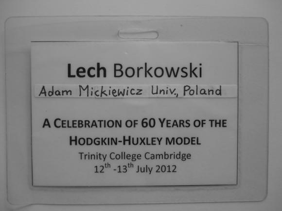 Poprawiony identyfikator Lecha Borkowskiego Trinity College, Cambridge 2012