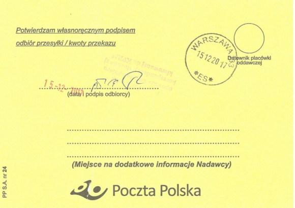 Poświadczenie odbioru listu Małgorzaty Głuchowskiej i Lecha Borkowskiego do premiera z 10 grudnia 2017, strona 2.