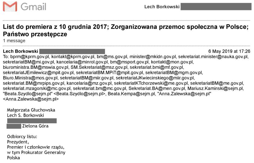 List Małgorzaty Głuchowskiej i Lecha Borkowskiego został wysłany do premiera i członków rządu. Czas w nagłówku poczty podany jest według strefy BST (British Standard Time).
