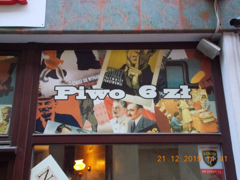 Communist leaders Lenin, Stalin, Bierut among the symbols of the restaurant in Zielona Góra, Poland