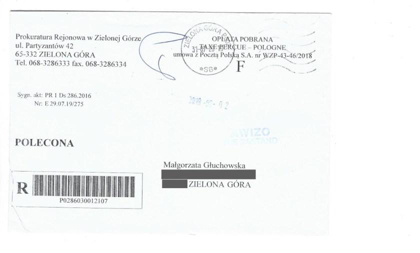 Koperta pisma z Prokuratury Rejonowej w Zielonej Górze lipiec 2019