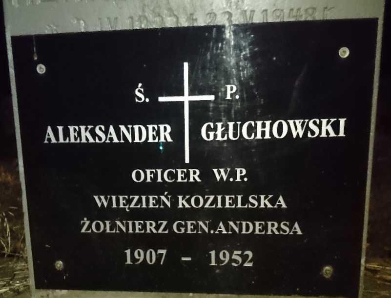 Aleksander Głuchowski 1907-1952, tablica nagrobna