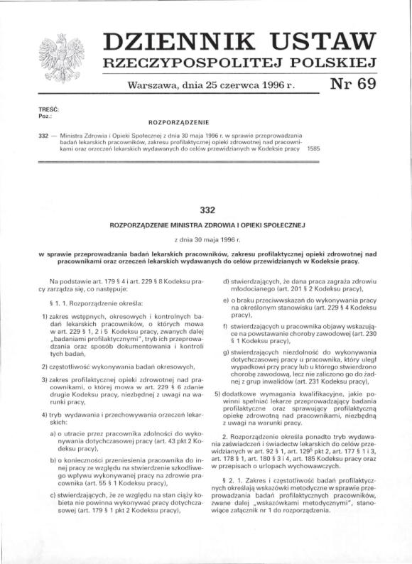 Rozporządzenie Ministra Zdrowia 30 maja 1996, strona 1