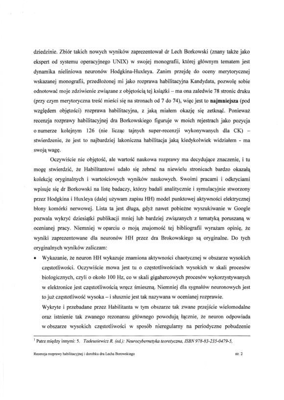 Ryszard Tadeusiewicz, recenzja habilitacji LSB, strona 2
