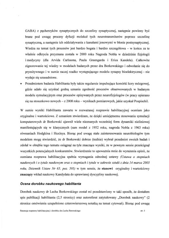 Ryszard Tadeusiewicz, recenzja habilitacji LSB, strona 5