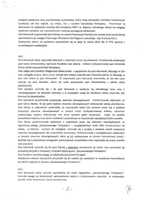 Honorata Górna, Protokół zebrania nauczycieli sekcji pianistycznej PSM w Zielonej Górze 18 listopada, strona 2