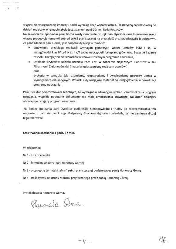 Honorata Górna, Protokół zebrania nauczycieli sekcji pianistycznej PSM w Zielonej Górze 18 listopada, strona 4
