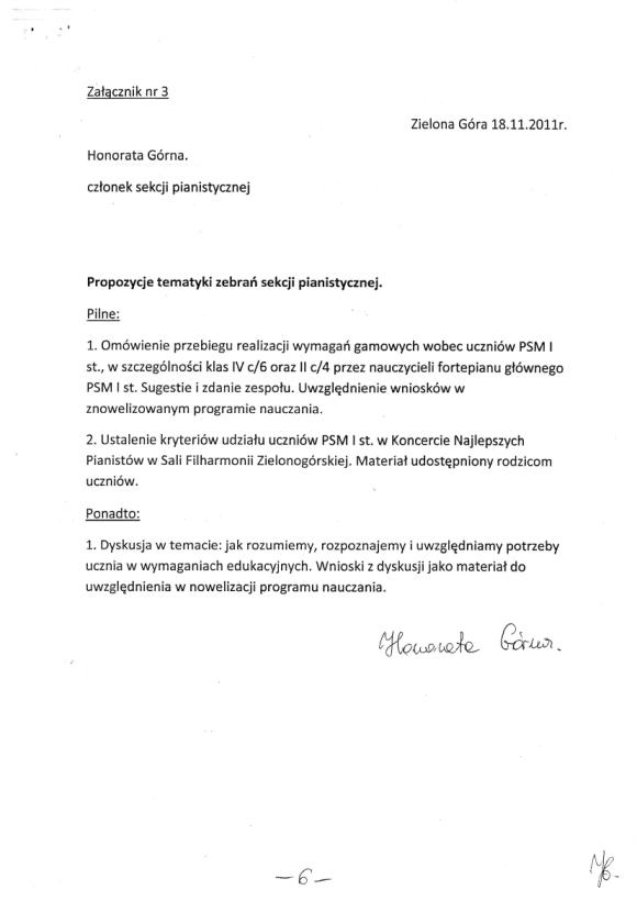 Honorata Górna, Protokół zebrania nauczycieli sekcji pianistycznej PSM w Zielonej Górze 18 listopada, strona 6