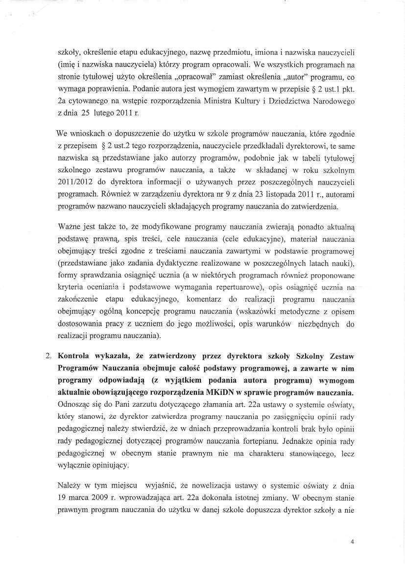 Pismo Ministerstwa Kultury, Dyrektor Departamentu Szkolnictwa Artystycznego Wiktor Jędrzejec 6 czerwca 2012, strona 4
