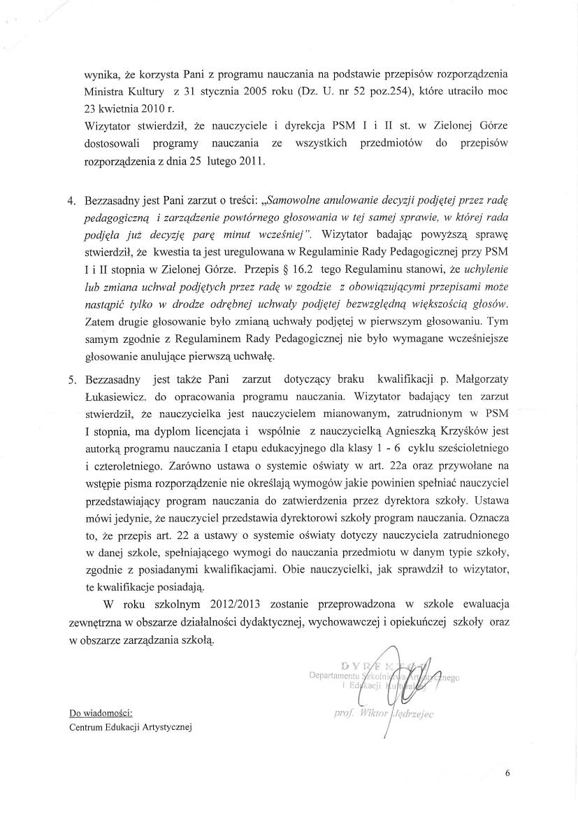 Pismo Ministerstwa Kultury, Dyrektor Departamentu Szkolnictwa Artystycznego Wiktor Jędrzejec 6 czerwca 2012, strona 6