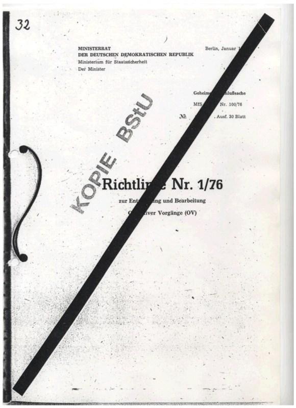 Erich Mielke Richtlinie Nr. 1/76 zur Entwicklung und Verarbeitung Operativer Vorgange, Die Zersetzung, Ministerium fur Staatsicherheit, DDR, 1976