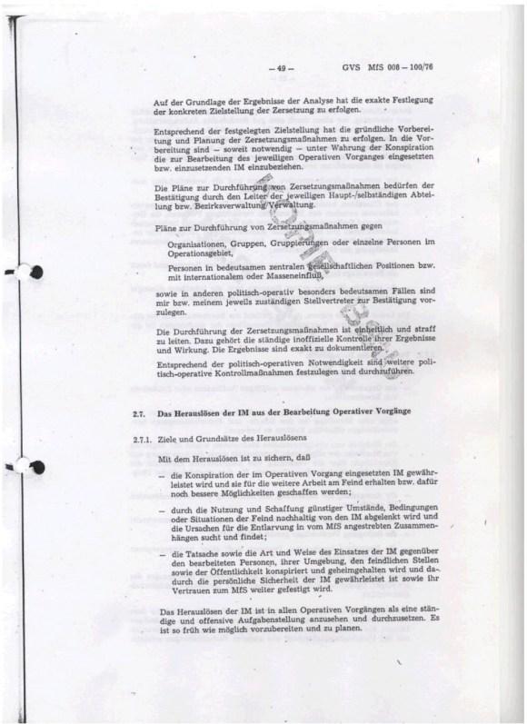 Erich Mielke, Richtlinie Nr. 1/76 zur Entwicklung und Verarbeitung Operativer Vorgange, Die Zersetzung, Ministerium fur Staatsicherheit, DDR, 1976, Seite 49