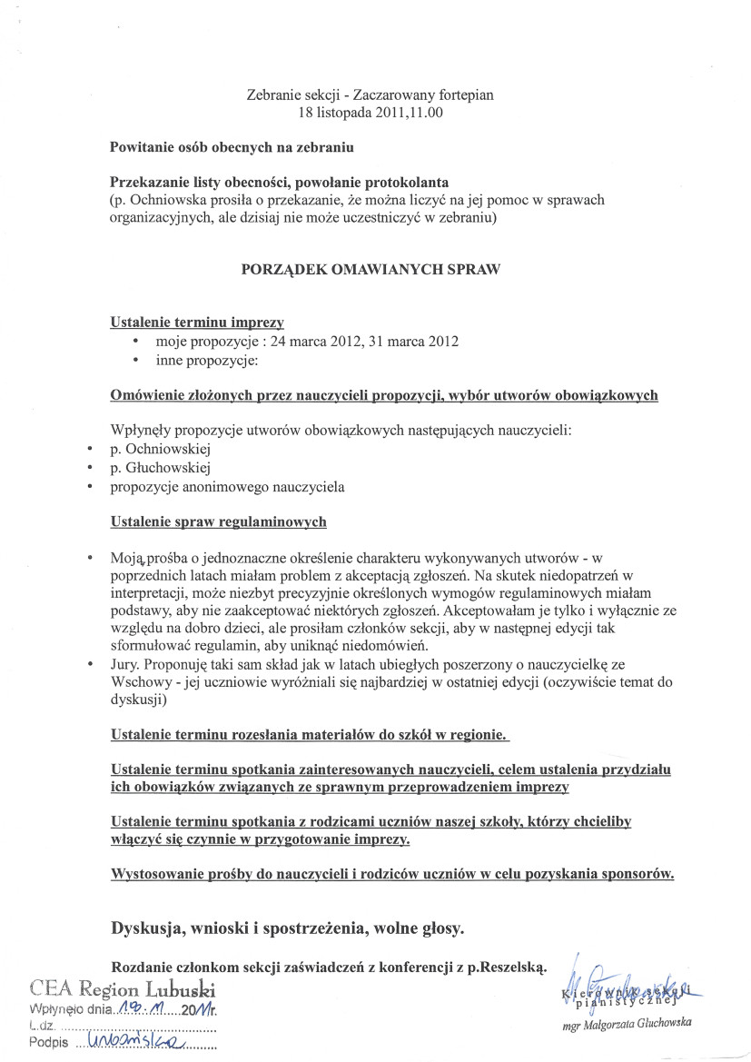 Małgorzata Głuchowska, plan zebrania sekcji pianistycznej, Państwowa Szkoła Muzyczna, Zielona Góra, 18 listopada 2011