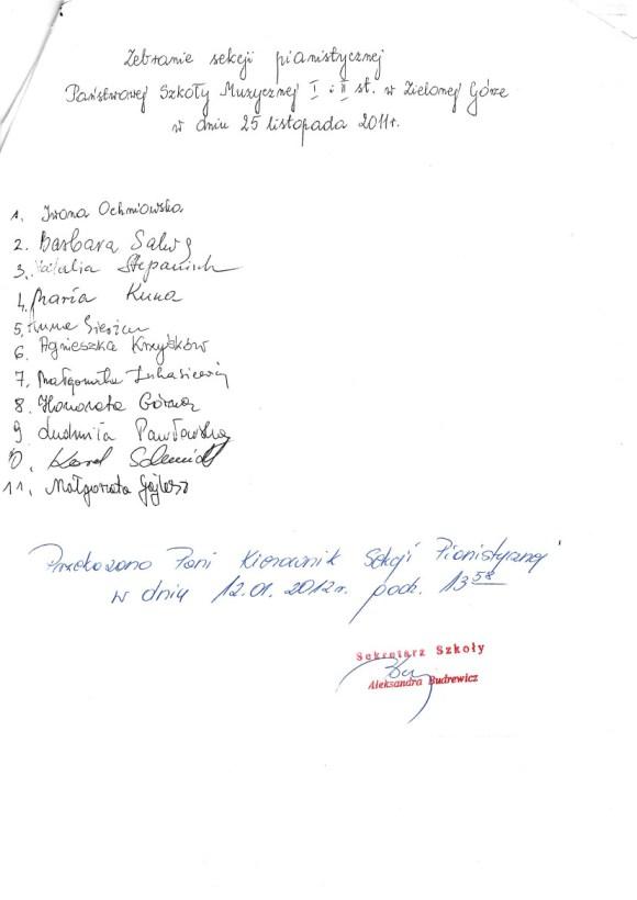 Zebranie sekcji pianistycznej PSM w Zielonej Górze, 25 listopada 2011, lista obecności